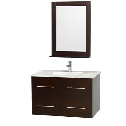 """Wyndham Collection WCVW00936S 36"""" Single Wall Mount Vanity with Square Undermount White Porcelain Sink, 2 Drawers, 2 Doors, and Includes Matching Mirror in"""