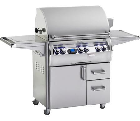 FireMagic E660S-4E1X-62 Echelon Diamond Series Freestanding X Grill with a 660 sq. in. Cooking Space a Rotisserie Backburner a Side Burner and Shelf: Stainless Steel