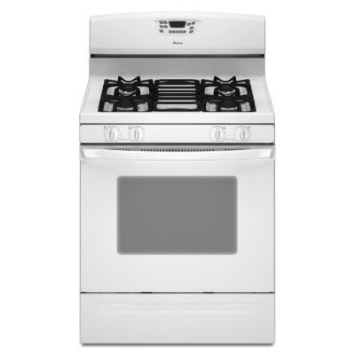 Amana AGR6011VDW  Gas Freestanding Range with Sealed Burner Cooktop, 5.0 cu. ft. Primary Oven Capacity, Storage in White