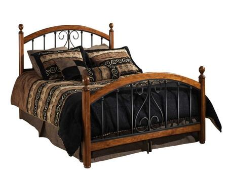 Hillsdale Furniture 1258BR Burton Way Poster Bed Set with Elongated Oval Finials, Rails Included, Wood and Tubular Steel Construction in Black Powder Coat and Cherry Finish