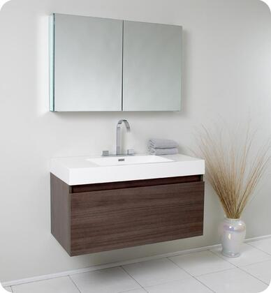 "Fresca Mezzo Collection FVN8010 40"" Modern Bathroom Vanity with Medicine Cabinet, Nesting Drawers and  Integrated Acrylic Countertop & Sink in"