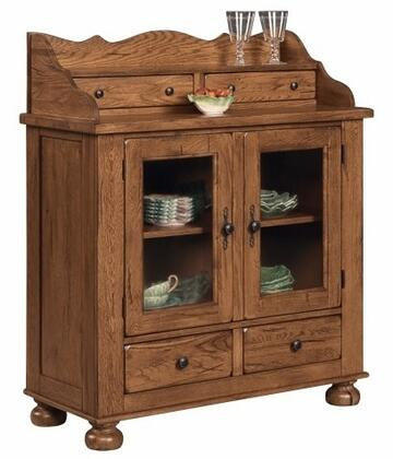 """Broyhill 539760 Attic Heirlooms 48"""" Dining Chest with 4 Drawers, 2 Antique Glass Doors, 1 Adjustable Shelf and Lacquer-Coated Hardware in"""