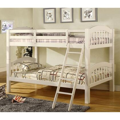 Furniture of America Coney Island Collection Twin Size Bunk Bed with Picket Fence Design, Front Access Fixed Ladder, Solid Wood and Wood Veneer Construction in