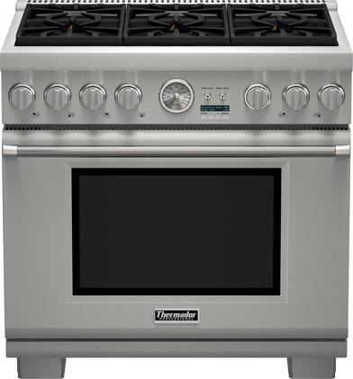 "Thermador PRX366JG 36"" Pro Grand Professional Series Freestanding Gas Range with 6 Sealed Burners, 5.5 Cu. Ft. Convection Oven Capacity, 3 Telescopic Racks, and QuickClean Base: Stainless Steel"