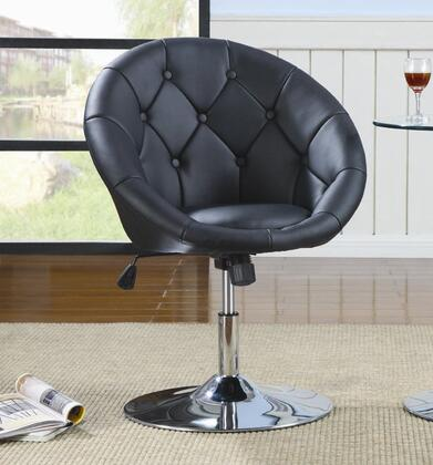 "Coaster Dining Chairs and Bar Stools 26.75"" Round Swivel Chair with Diamond Button Tufted Back, Shiny Steel Base, Adjustable Height and Faux Leather Upholstery in"