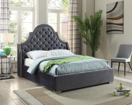 Meridian Madison MADISONGREY-X Bed with Chrome Nailheads, Deep Tufting, Chrome Legs and Velvet Upholstery in Grey
