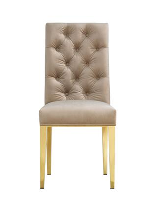 "Meridian Capri Collection 716X-C 42"" Dining Chair with Velvet Upholstery, Rich Gold Stainless Steel and Contemporary Style"
