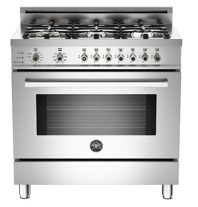 "Bertazzoni PRO366DFSXLP 36"" Professional Series Dual Fuel Freestanding Range with Sealed Burner Cooktop, 4.0 cu. ft. Primary Oven Capacity, in Stainless Steel"