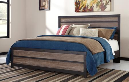 Signature Design by Ashley Harlinton B325 Panel Bed with Replicated Oak Grain Frames, Two-Tone Look and White Wax Effect in Warm Grey and Charcoal Finish
