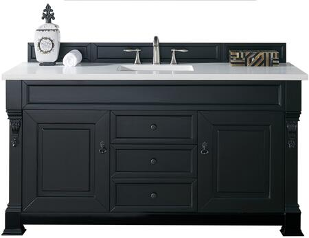 James Martin Brookfield Collection 147-114-5331- Antique Black Single Vanity with Two Soft Closing Doors, Three Soft Closing Drawers, Backsplash, Hand Carved Filigrees and