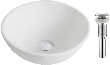 "Kraus KCV341X Elavo Series 14"" Round Countertop Bathroom Basin Sink with High-Gloss Finish, Easy-to-Clean Surface, and Included Pop-Up Drain"