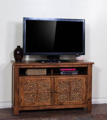 "Sunny Designs 3484RB-X Sedona X"" TV Console with Double Door Cabinet, Storage Shelf, in Rustic Oak Finish"