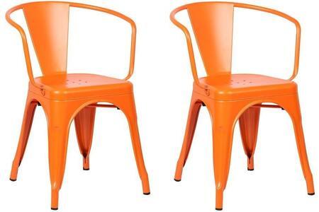 EdgeMod EM113ORAX2 Trattoria Series Modern Metal Frame Dining Room Chair