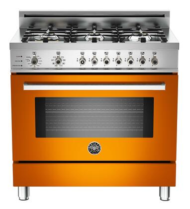 "Bertazzoni PRO366DFSARLP 36"" Professional Series Orange Dual Fuel Freestanding Range with Sealed Burner Cooktop, 4.0 cu. ft. Primary Oven Capacity,"