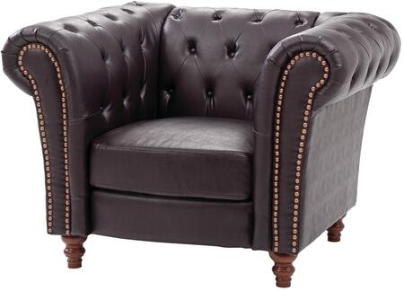 "Glory Furniture 44"" Armchair with Button Tufted Back, Nail Head Trim, Turned Feet, Rolled Arms, Pocketed Coil Seating and Faux Leather Upholstery in"