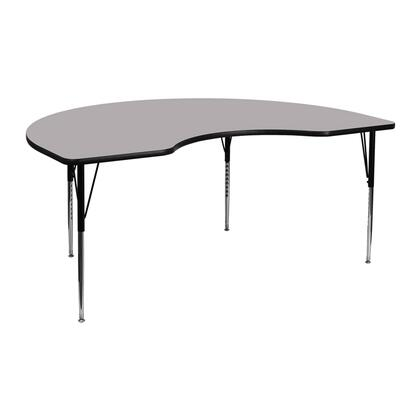 """Flash Furniture XU-A4872-KIDNY-XYX-T-A-GG 48""""W x 72""""L Kidney Shaped Activity Table with Thermal Fused Laminate Top and Standard Height Adjustable Legs"""