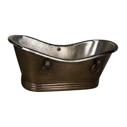 "72"" Copper Double Slipper Tub w/ Nickel"