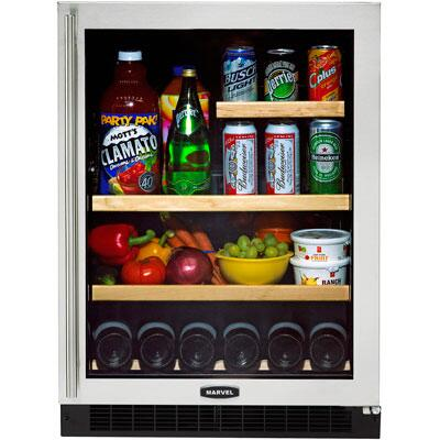 "Marvel 6GARM-L 24"" All Refrigerator/Beverage Center with Dynamic Cooling Technology, 6 Wine Bottles/95 Cans Capacity, Glass Door & Left Hinge Door:"