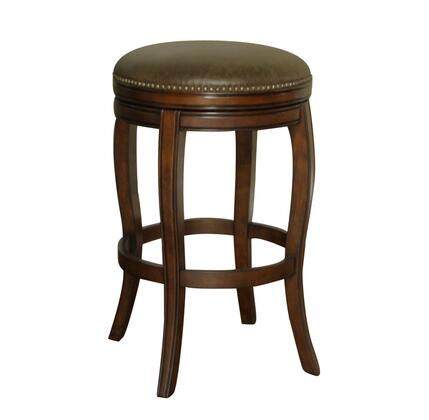 American Heritage Wilmington Series 130891 Traditional Backless Stool with Full Bearing Swivel, Individual Tacking, Webbed Seating, and Adjustable Leg Levelers Finished in Navajo with Coco Leather