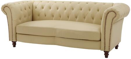 "Glory Furniture 91"" Sofa with Button Tufting, Nail Head Trim, Pocket Coil Seating, Rolled Arms, Turned Legs and Faux Leather Upholstery in"