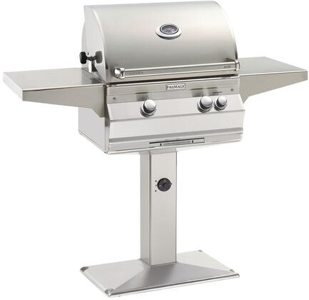 """FireMagic A430S6LAxP6 56"""" Patio Post Mount Grill With 432 sq. Inches Cooking Surface, 192 sq. Inches Warming Rack Surface, Rotisserie, Left Infrared Searing Burner, 50000 BTU Main Burner, Hot Surface Ignition, Analog Thermometer, in Stainless Steel"""