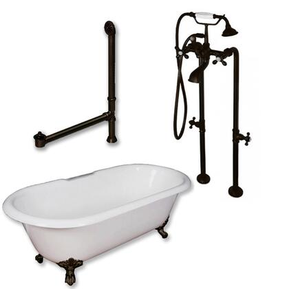 "Cambridge ST67398463PKG Cast Iron Slipper Clawfoot Tub 67"" x 30"" with No Faucet Drillings and Complete Free Standing British Telephone Faucet and Hand Held Shower Package"
