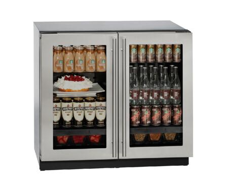 """U-Line U-3036RRGLS-x 36"""" Modular 3000 Series Compact Refrigerator with 6.9 cu. ft. Capacity, 246 Can Capacity, Convection Cooling System, U-Select Control, and Triple Thermopane Glass Door, in Stainless Steel"""