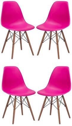 EdgeMod EM105WALFUSX4 Vortex Series Modern Wood Frame Dining Room Chair