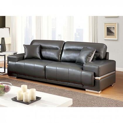 Furniture Of America Cm6411gysf Zibak Series Faux Leather Sofa Appliances Connection