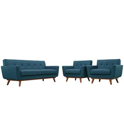 Modway EEI-1347 Engage 3 Piece Set with Two Armchairs and One Loveseat, Modern Design, Cherry Color Rubber Wood, Plastic Glides, 440 lbs. Weight Capacity and 100% Polyester Upholstery