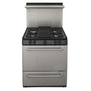 "Premier P30S3 30"" Pro Series Range with 4 Sealed Burners, Separate Broiler Compartment, Continuous Cast Iron Grates, Solid Door, Two Oven Racks and Interior Oven Light: Stainless Steel"
