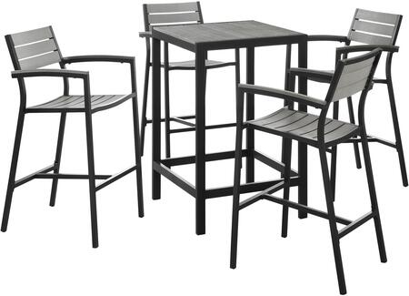 Modway Maine Collection EEI-1755- 5-Piece Outdoor Patio Dining Set with Bar Table and Four Bar Stools in