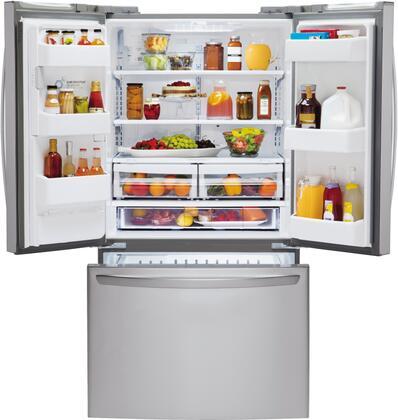 open refrigerator door. lg front open filled refrigerator door