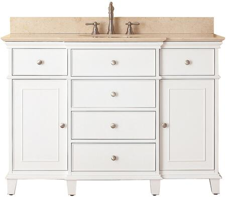 """Avanity Windsor Collection WINDSOR-VS48-WT-X 48"""" Sink Vanity with X Top, Undermount Sink, 2 Soft-Close Doors, 2 Interior Shelves and 6 Drawers in White"""