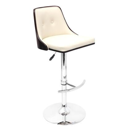 "LumiSource Nueva BS-JY-NU W 37"" - 42"" Barstool with 360 Degree Swivel, Chrome Base and Button-Tufted Back in"