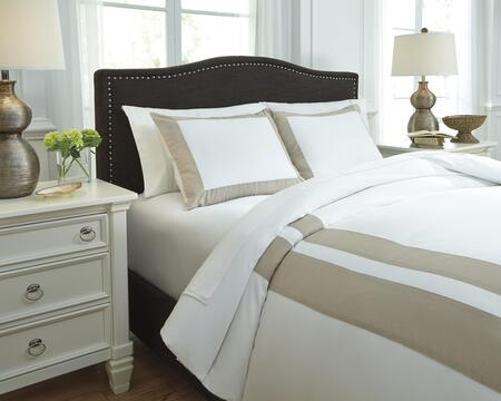 Signature Design by Ashley Andor Q754003 3 PC Size Duvet Cover Set includes 1 Duvet Cover and 2 Standard Shams with Solid Design, 300 Thread Count and Cotton Material in White Sand Color