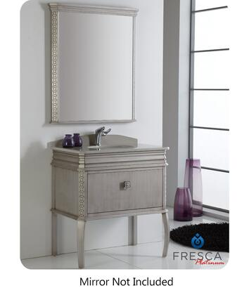 "Fresca Platinum London FPVN752XSA XX"" Bathroom Vanity with Hand Painted Antique Silver Finish, Swarovski Handles and 2 Soft Closing Drawers"