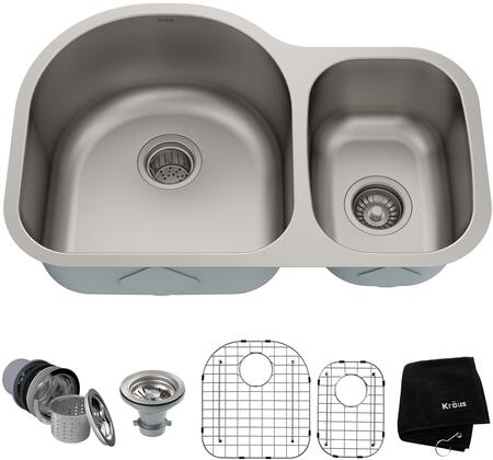 Kraus KBU2 Premier Series Undermount Double-Bowl Kitchen Sink with 16-Gauge Stainless Steel Construction, NoiseDefend, and Commercial-Grade Satin Finish