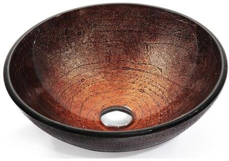 """Kraus CGV58012MM10 Multicolor Series 17"""" Copper Illusion Round Vessel Sink with 12-mm Tempered Glass Construction, Easy-to-Clean Polished Surface, and Included Waterfall Faucet"""