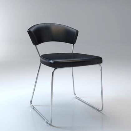 Modloft MD611BLK Delancy Series Modern Leather Metal Frame Dining Room Chair