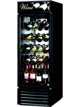 True GDM-23W 23 Cu. Ft. Refrigerator Wine Case Merchandiser with LED Lighting, and Thermal Insulated Glass Swing-Doors in Black