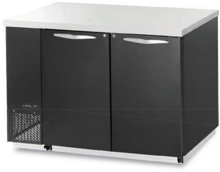 "Kool-It KBB602Sx 60"" Back Bars with Capacity of 19 cu.ft, 2 Door, 4 Shelves, 3/8 HP, in Black"