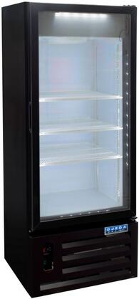 Ojeda RVxPx Glass Door Merchandiser Cooler with Care Free Condenser, Steel Construction, Electronic Control, LED Lighting and Hot Gas Evaporator, in Black