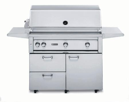 """Lynx L42PSFR-2 Professional Series 42"""" Grill on Cart with 2 Brass Burners, 1 ProSear2 Burner and Rotisserie, 1,200 sq. in. Cooking Surface and Heat Stabilizing Design, in Stainless Steel:"""