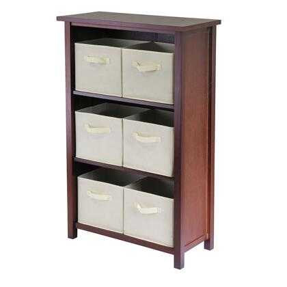 Winsome 94X81 Verona 3- Section M Storage Shelf in Walnut with 6 Foldable Fabric Baskets
