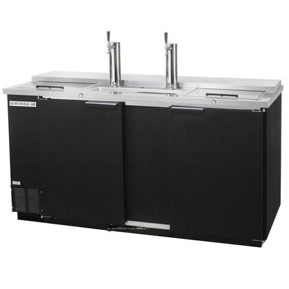 "Beverage-Air DD58 59"" Two Section Direct Draw [Club Top] Beer Dispenser, 3 Keg Kegerator with Swing Solid Door, 23.8 cu.ft. Capacity, [Black] Exterior, [Two Sliding Lids on the Left-hand and Right-Hand Sides] and Side Mounted Compressor"