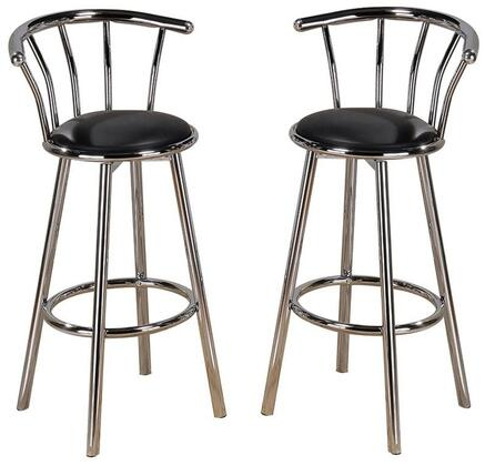 """Acme Furniture Cucina Collection 29"""" Set of 2 Bar Stools with Swivel Mechanism, Chrome Plated Finish, Flame Retardant, Metal Tube and PU Leather Upholstery in"""