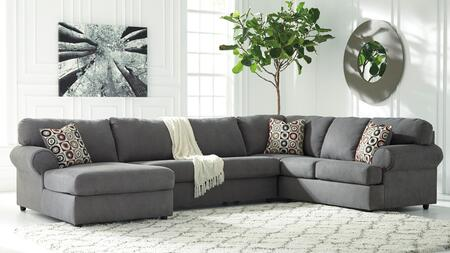 Signature Design by Ashley Jayceon 64902CHALS 3-Piece Sectional Sofa with X Arm Facing Chaise, Armless Loveseat and X Arm Facing Sofa in Steel