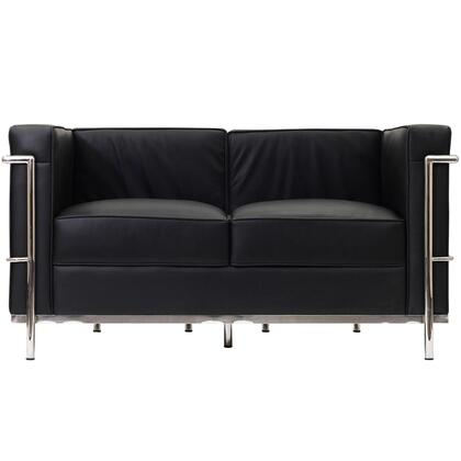 Modway EEI127BLK Charles Series Leather Stationary with Metal Frame Loveseat