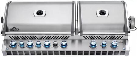 """Napoleon BIPRO825RBIxSS-2 53"""" Prestige PRO 825 Series Built-In Grill with 4 Stainless Steel Bottom Burners, 2 Infrared Burners, Smoker Burner, Warming Burner, Smoker Tray, 1245 sq. in. Total Cooking Area, and Infrared Rear Burner, in Stainless Steel"""